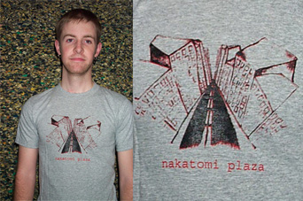 Nakatomi Plaza t-shirt design, illustration by Jasmine Dreame Wagner