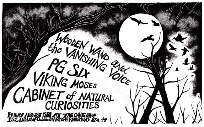 Wooden Wand and The Vanishing Voice, PG Six, Viking Moses, Cabinet of Natural Curiosities show flyer design, illustration by Jasmine Dreame Wagner